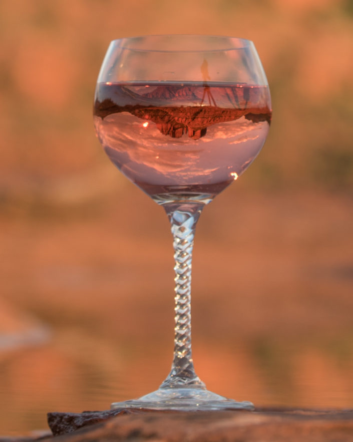 wine glass refection